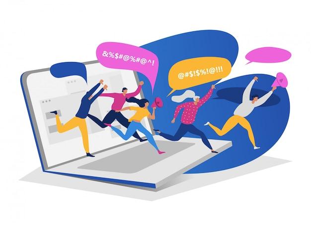 Agrupe os povos que correm o portátil, uma comunicação tóxica do cyberbullying on-line do caráter fêmea masculino do megafone em branco, ilustração. Vetor Premium