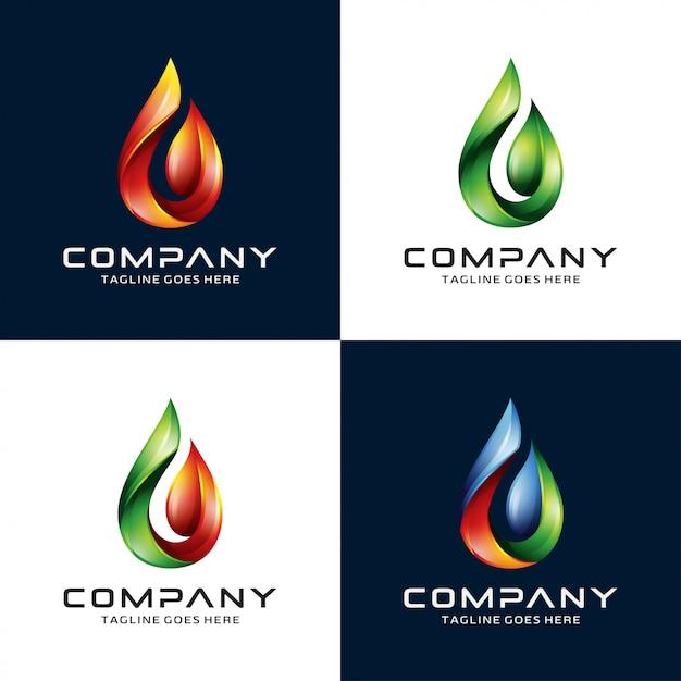 Água 3d, chama, logotipo da folha Vetor Premium
