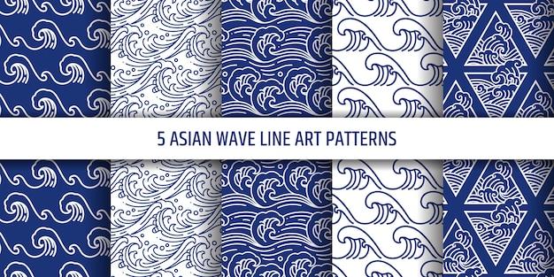 Água asiática mar onda sem costura padrão definido. Vetor Premium