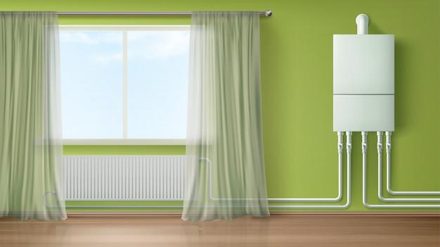 Água da caldeira e parede do aquecedor conectadas ao radiador Vetor grátis