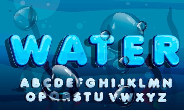 Água dos desenhos animados cai fonte, alfabeto azul engraçado Vetor Premium