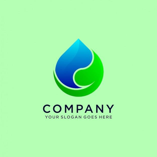 Água e folha da natureza Vetor Premium