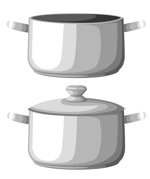 Água fervente na panela. panela de ferro no fogão com água e vapor. elementos gráficos. ilustração. página do site e aplicativo móvel Vetor Premium