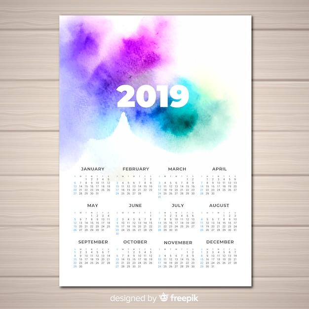 Aguarela 2019 calendário Vetor grátis