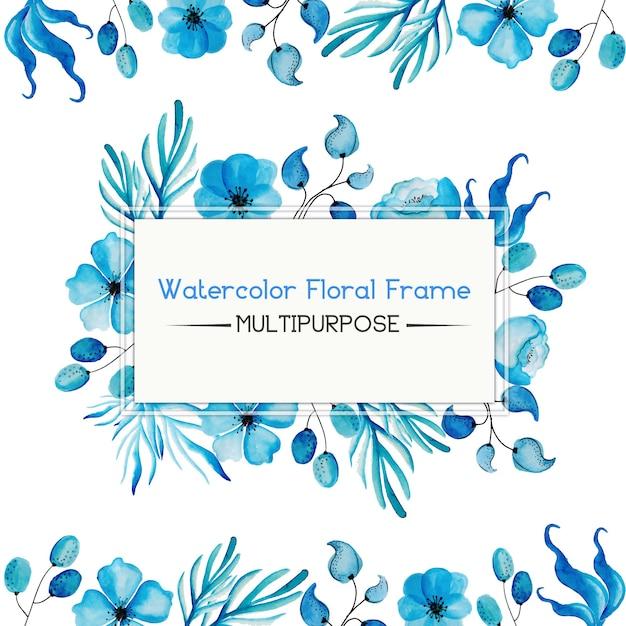 Aguarela azul floral frame multipurpose Vetor grátis