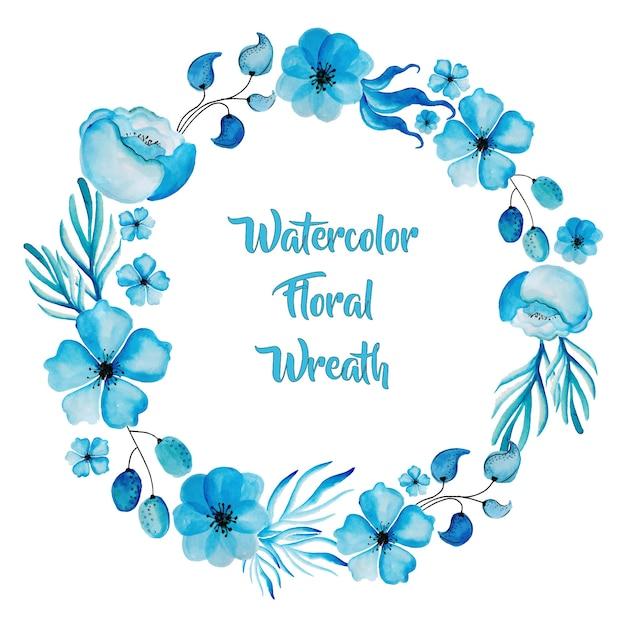 Aguarela blue floral wreath Vetor grátis