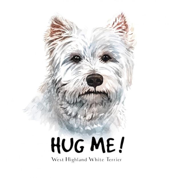 Aguarela branca do cão de terrier para imprimir. Vetor Premium