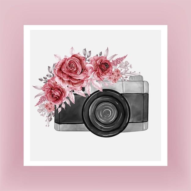 Aguarela da câmera com flores cor de vinho Vetor grátis
