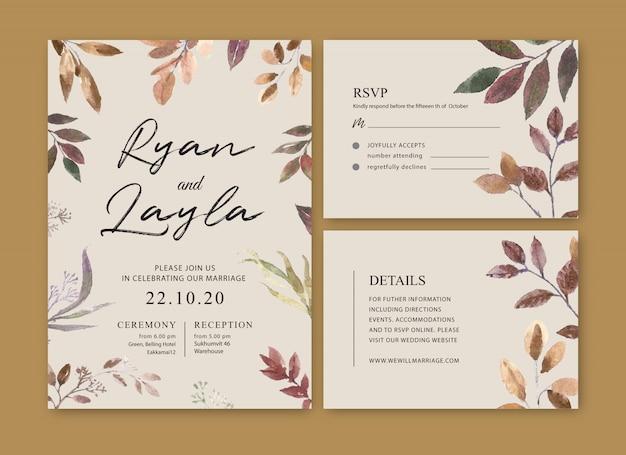 Aguarela da flor do cartão de casamento, cartão dos agradecimentos, ilustração do casamento do convite Vetor grátis