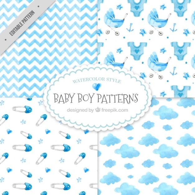 Aguarela decorativa bebê padrões chuveiro embalar Vetor grátis