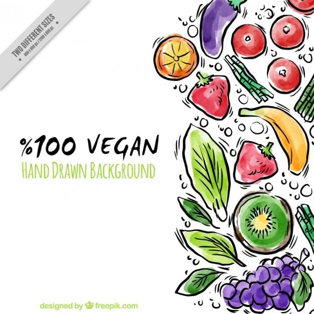 Aguarela desenhada mão de fundo vegan alimentos Vetor grátis