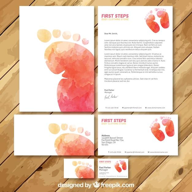 Aguarela do bebê da loja de roupa Cartão de Visita Set Vetor Premium