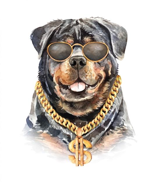 Aguarela do cão de rottweiler com colar chain. Vetor Premium