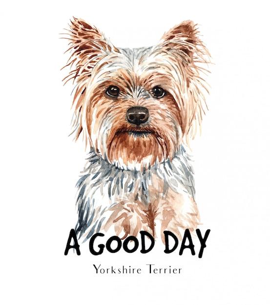 Aguarela do cão do yorkshire terrier para imprimir. Vetor Premium