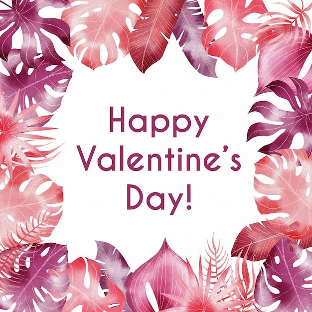 Aguarela feliz dia dos namorados fronteira com folhas tropicais rosa Vetor Premium