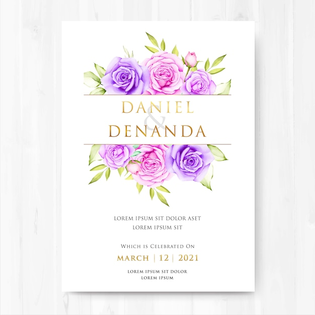Aguarela floral e deixa o cartão de casamento Vetor Premium