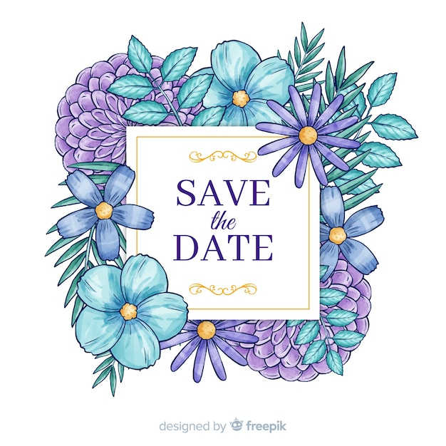 Aguarela floral salvar a data Vetor grátis