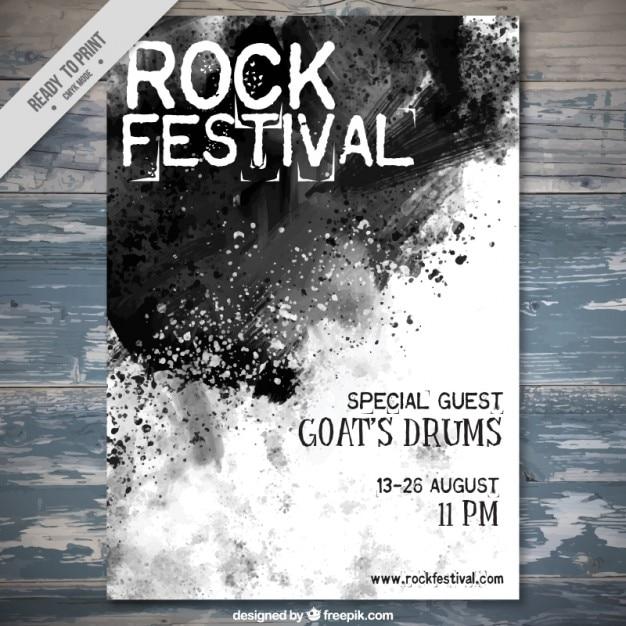 aguarela preta espirra festival de rock panfleto Vetor grátis