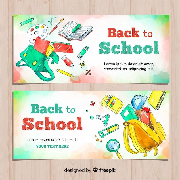 Aguarela volta para banners de escola Vetor grátis