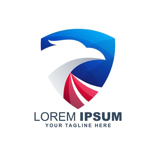 Águia americana falcão logotipo colorido moderno Vetor Premium