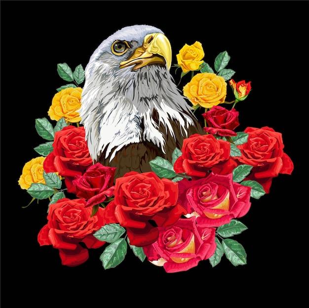 Águia com rosas em fundo preto Vetor Premium