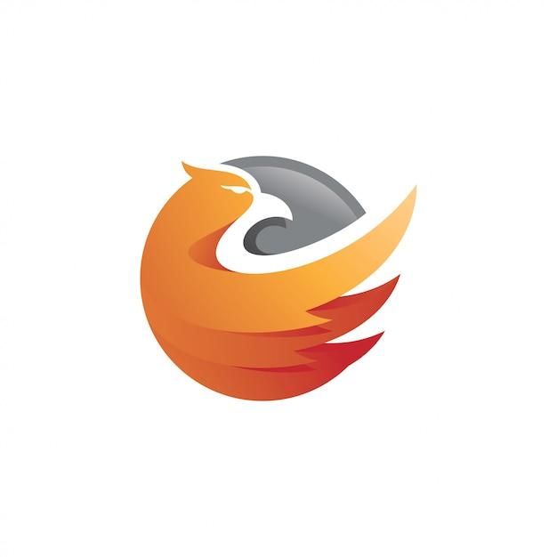 Águia falcão falcão asa e círculo logotipo Vetor Premium