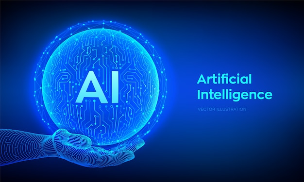 Ai. logotipo de inteligência artificial. inteligência artificial e conceito de aprendizado de máquina. esfera da placa de circuito de tecnologia abstrata na mão. tecnologia de big data. redes neurais. Vetor Premium
