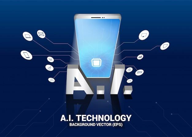Ai texto e telefone móvel 3d com gráfico de linha de circuito. conceito de telecomunicação móvel com aprendizado de máquina. inteligência artificial Vetor Premium
