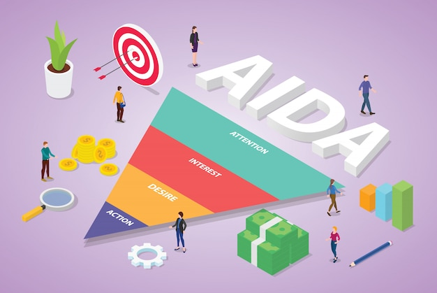 Aida, acrônimo, de, interesse interesse, desejo, ação, palavra negócio, com, isometric, modernos, apartamento, estilo Vetor Premium