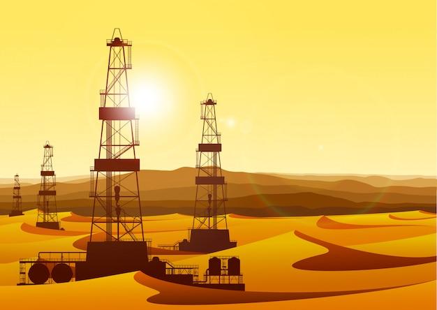 Ajardine plataformas petrolíferas do whith no deserto estéril com dunas de areia. Vetor Premium
