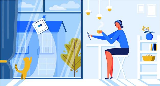 Ajuda para a mulher robot window cleaner cartoon flat. Vetor Premium