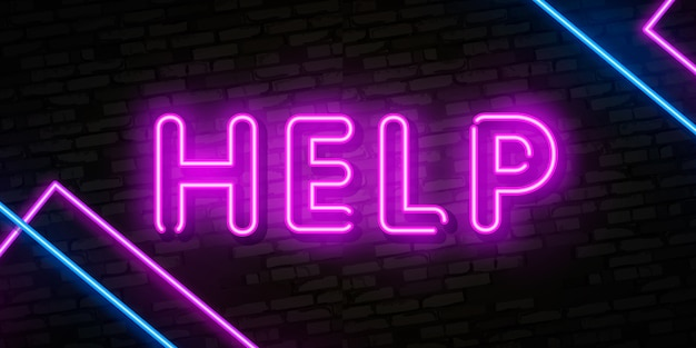 Ajudar, sinal néon Vetor Premium