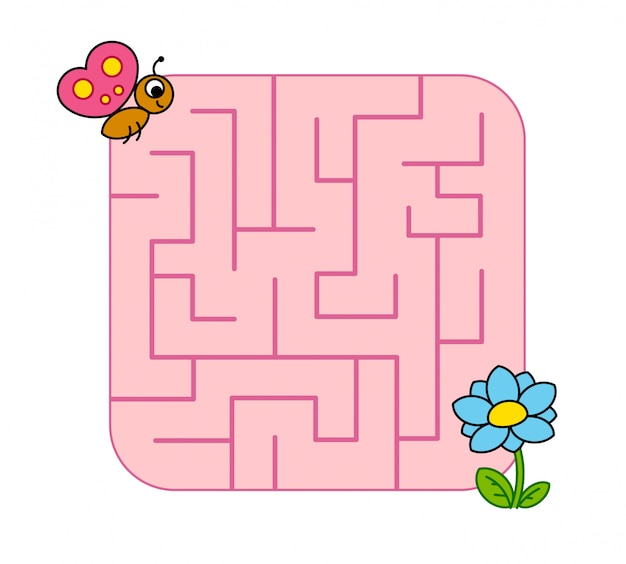 Ajude o filhote de borboleta bebê a encontrar o caminho para a flor. labirinto. jogo de labirinto para crianças. enigma. Vetor Premium