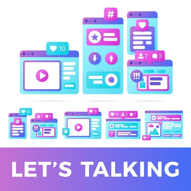 Ajuste a ilustração do vetor de um conceito social de uma comunicação dos meios. mídia social com janelas do navegador coloridas de plataforma cruzada Vetor Premium