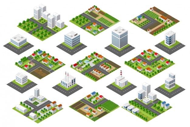 Ajuste distrito urbano Vetor Premium