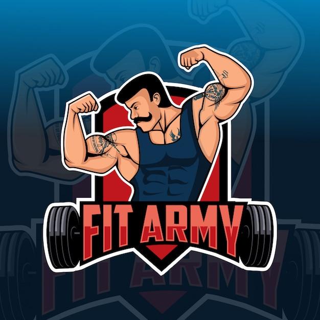 Ajuste exército corpo construtor mascote esport logotipo Vetor Premium