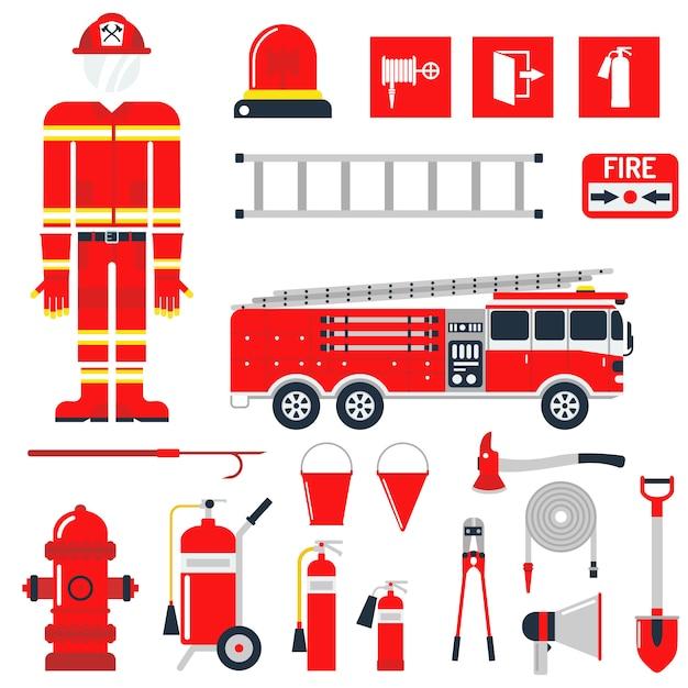 Ajuste ícones e símbolos lisos da segurança contra incêndios do sapador-bombeiro. Vetor Premium