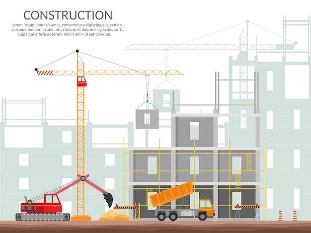 Ajuste o conceito dos elementos da construção do processo que constrói uma ilustração isolada grupo do vetor da casa. Vetor Premium