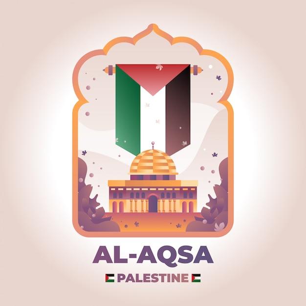 Al aqsa palestine ilustração Vetor Premium