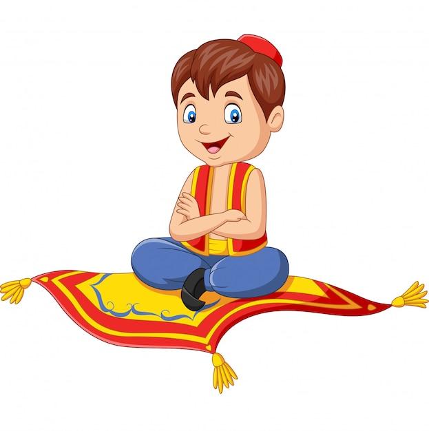 Aladdin de desenhos animados viajando no tapete voador Vetor Premium
