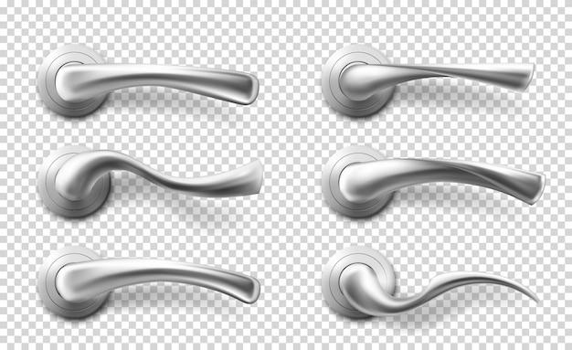 Alças de alavanca de porta de metal realista de vetor Vetor grátis