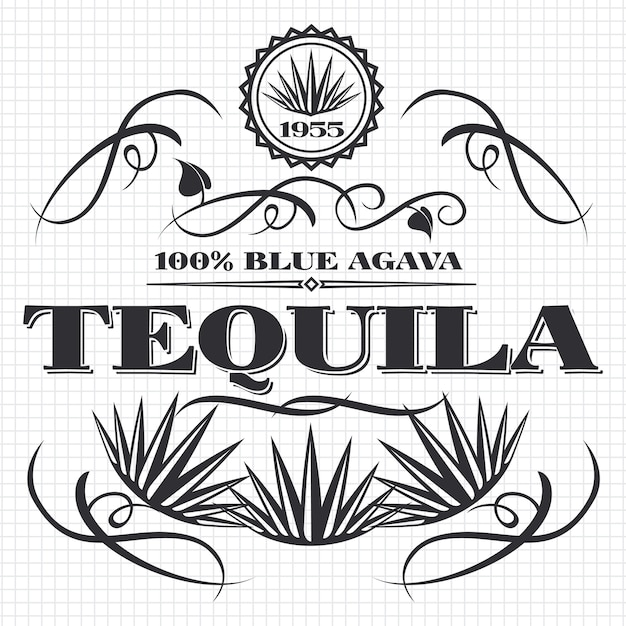 Álcool bebida tequila banner design na página do caderno Vetor Premium