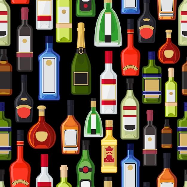 Álcool garrafas padrão colorido. ilustração vetorial Vetor Premium