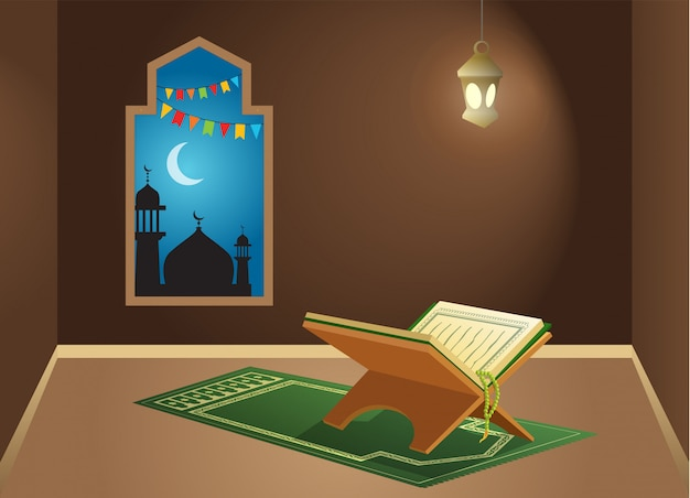 Alcorão sagrado na sala de adoração Vetor Premium