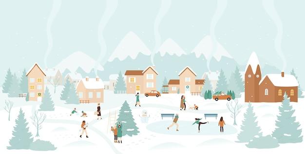Aldeia de inverno, ilustração de paisagem de natal de neve. Vetor Premium