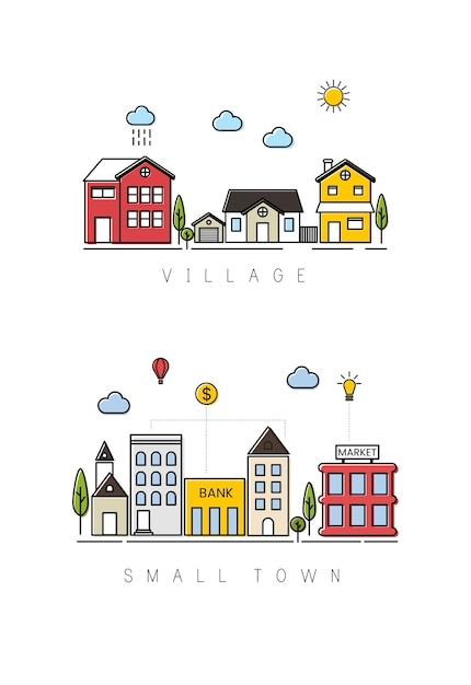 Aldeia e cidade pequena Vetor grátis