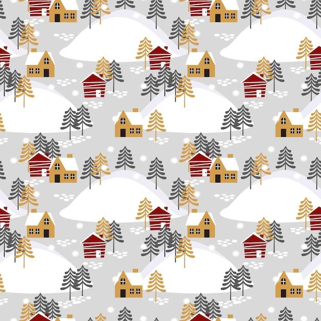 Aldeia na temporada de natal sem costura padrão. Vetor Premium