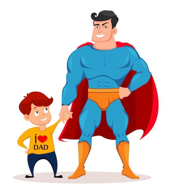 Alegre filho e pai em traje de super-herói Vetor Premium
