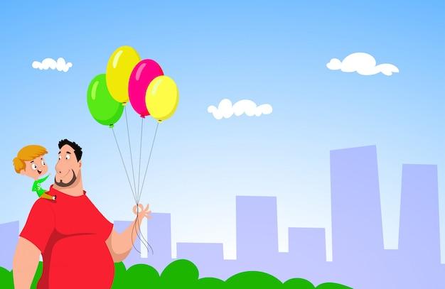 Alegre pai e filho caminhando junto com balões Vetor Premium