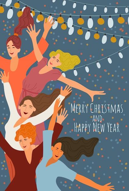 Alegres sorridentes meninas pulando em uma festa corporativa no fundo de guirlandas festivas Vetor Premium